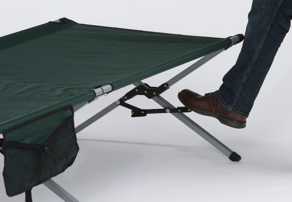 Step-down lock on folding cot